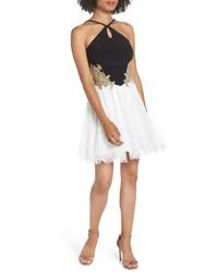 Blondie Nites Loop Keyhole Applique Fit Flare Dress