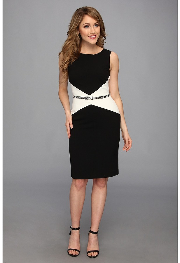 134 Calvin Klein Sleeveless Belted Colorblock Career Sheath