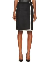 Nina Ricci Black While Wool Panel Skirt