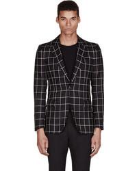 Alexander McQueen Black White Silk Amq 1b Check Jacket