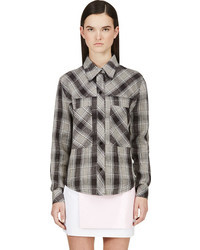 Filles a papa brown black plaid sequin back blouse medium 45552