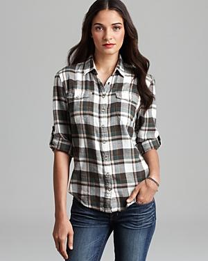 Jachs girlfriend shirt lena light flannel plaid button for White and black flannel shirt womens