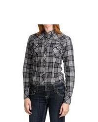 Panhandle Slim Plaid Shirt Long Sleeve Blackwhite