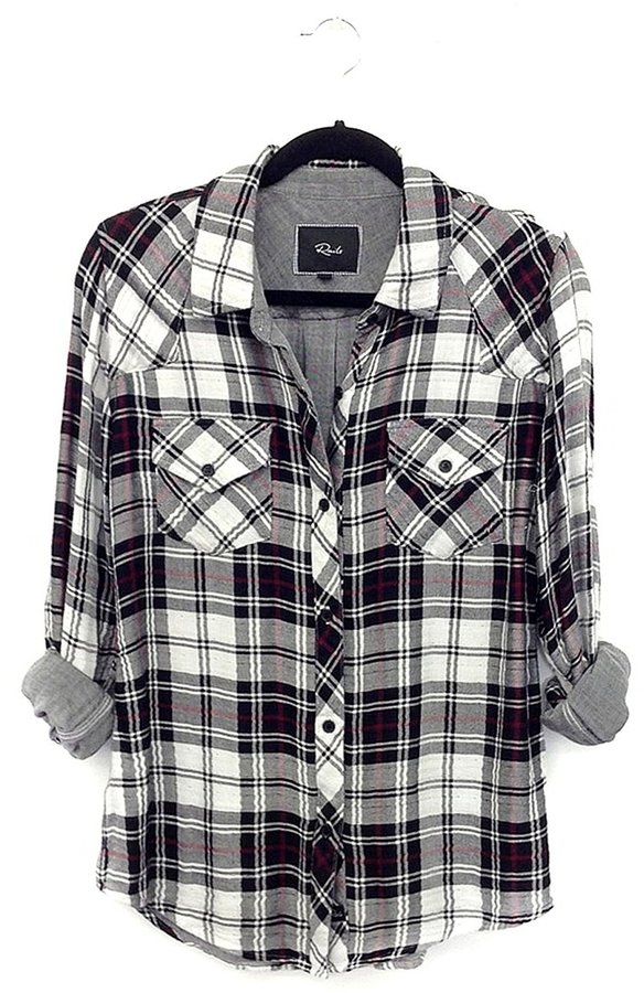 Rails kendra plaid shirt in black white where to buy for Black and white checker shirt