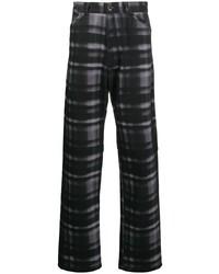 Qasimi Straight Leg Check Print Trousers