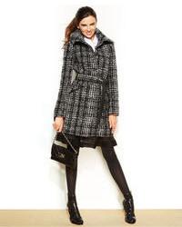 DKNY Belted Plaid Walker Coat