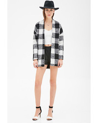 Forever 21 Buffalo Plaid Collarless Coat