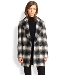 Cafe lithe shaggy plaid coat medium 100675