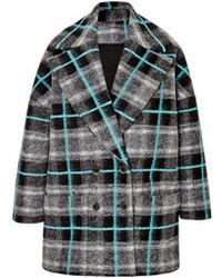 MSGM Felted Wool Plaid Coat Multi