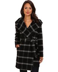 Lauren Ralph Lauren Lauren By Ralph Lauren Windowpane Plaid Hooded Wrap Coat