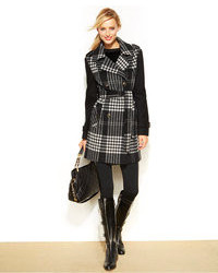 Michl michl kors colorblocked plaid coat medium 100676
