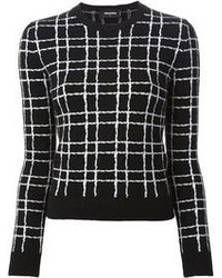 Black and White Plaid Crew-neck Sweater
