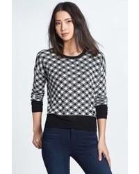 Kensie Check Pattern Crewneck Sweater