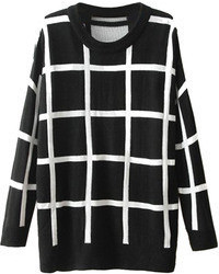 Choies Black Plaid Knit Sweater