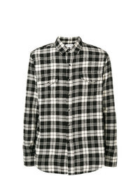 Black and White Plaid Denim Shirt