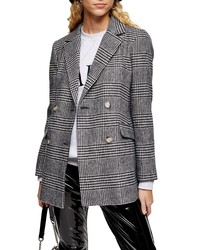Black and White Plaid Double Breasted Blazer