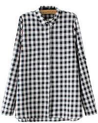 Choies Black And White Plaid Long Sleeve Shirt