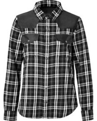 Cotton plaid and leather shirt medium 100657