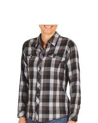 Exofficio Pocatello Plaid Shirt Peached Flannel Long Sleeve Black