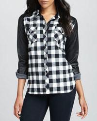 Generation Love Leather Sleeve Plaid Shirt