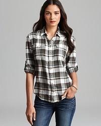 Jachs Girlfriend Shirt Lena Light Flannel Plaid Button Down