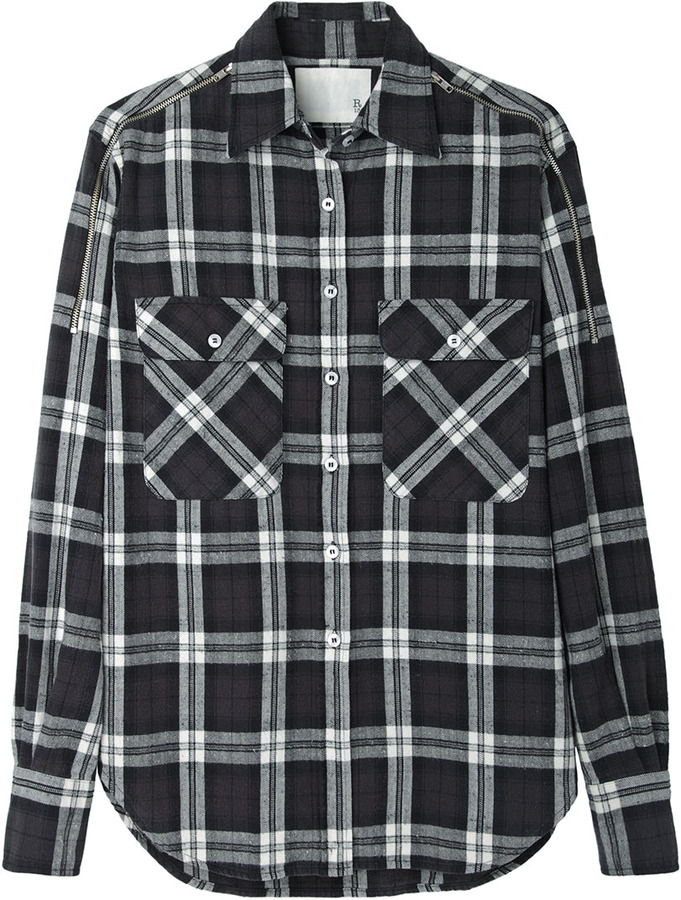 R 13 r13 zip shoulder flannel shirt where to buy how for White and black flannel shirt womens