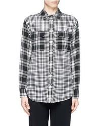 Nobrand Signature Contrast Check Silk Shirt