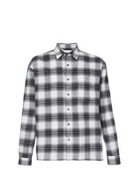 Black and White Plaid Flannel Long Sleeve Shirt