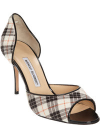 Black and White Plaid Heeled Sandals