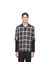 Neil Barrett Black And Grey Lyocell Plaid Long Sleeve Shirt