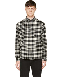 Black white flannel plaid shirt medium 117157