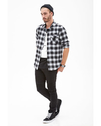 Forever 21 Blurred Plaid Flannel Shirt
