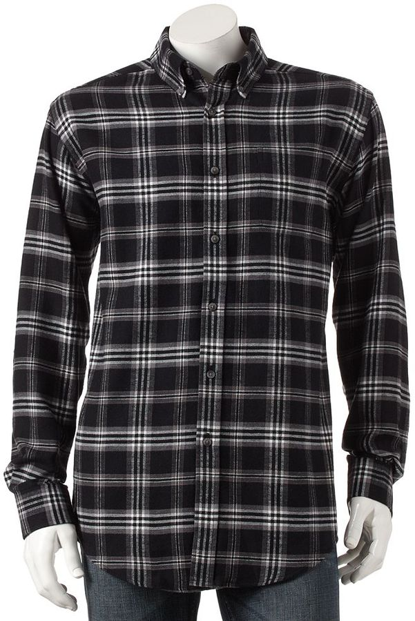 451e973c58100d ... Black and White Plaid Long Sleeve Shirts Croft Barrow Plaid Flannel  Button Down Shirt ...