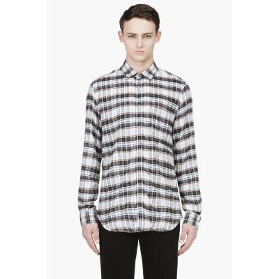 Diesel brown and white flannel plaid shirt where to buy for Brown and black plaid shirt