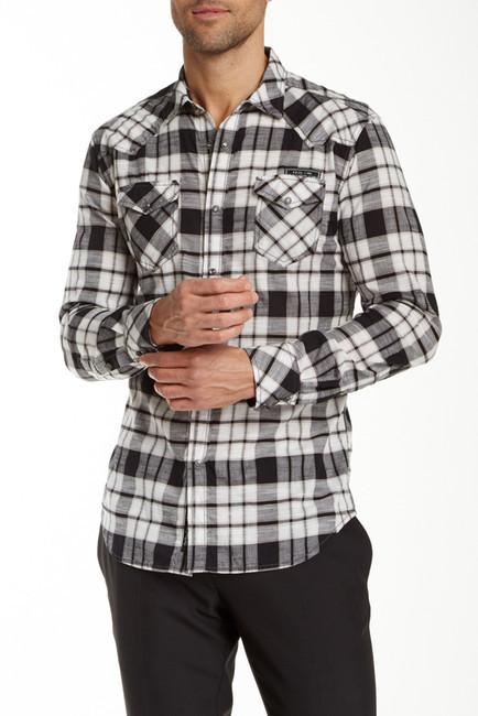 Black And White Plaid Long Sleeve Shirt Diesel Spoltava