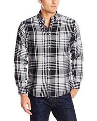 Dockers Long Sleeve Brushed Holiday Black And White Large Plaid