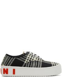 Marni Black White Wool Tartan Sneakers
