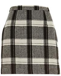River Island Black Check Mini Skirt