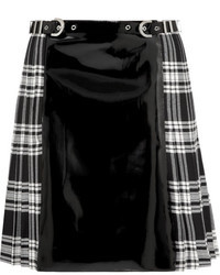 Versace Faux Patent Leather And Plaid Wool Skirt