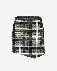Marissa Webb Leather Detail Plaidtweed Skirt