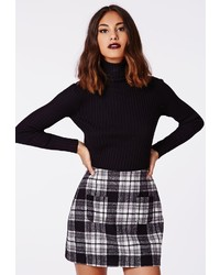 Missguided Mindie Check A Line Skirt Black