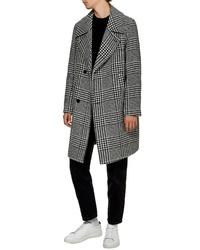 Topman Oversize Houndstooth Wool Blend Coat