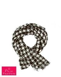 Miss pompom dog tooth scarf blackwhite medium 77595