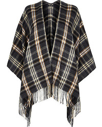 River Island Grey Plaid Check Blanket Cape