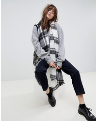 ASOS DESIGN Long Oversized Brushed Check Scarf In Mono