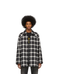 Balenciaga Black And White Flannel Coat