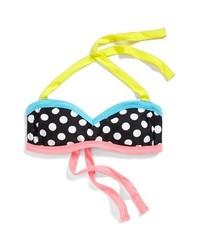 BCA Polka Dot Halter Bikini Top Black Large