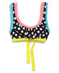 BCA Polka Dot Ruffle Bikini Top Black Large