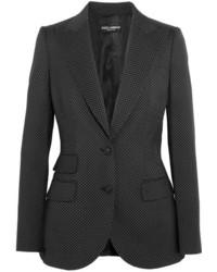Dolce & Gabbana Polka Dot Wool Blazer Black