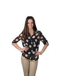 Journee Collection Polka Dot Button Up Chiffon Top